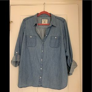 Chambray button down with roll sleeves, Xl